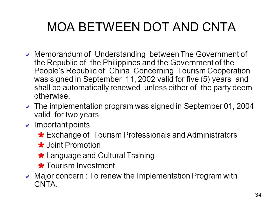 34 MOA BETWEEN DOT AND CNTA Memorandum of Understanding between The Government of the Republic of the Philippines and the Government of the Peoples Re