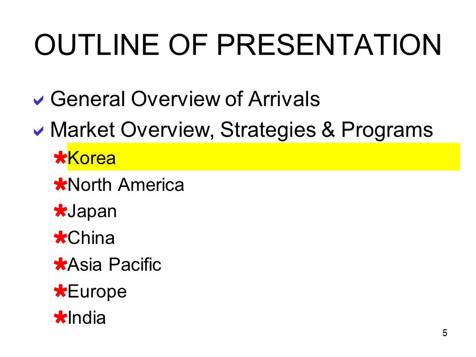 5 General Overview of Arrivals Market Overview, Strategies & Programs Korea North America Japan China Asia Pacific Europe India OUTLINE OF PRESENTATIO