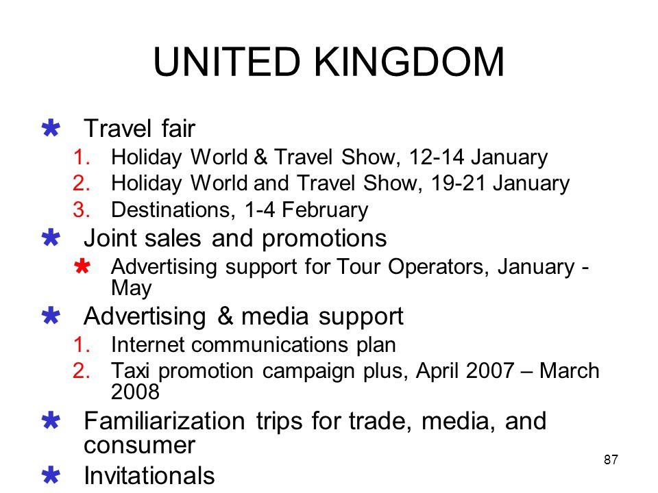 87 UNITED KINGDOM Travel fair 1.Holiday World & Travel Show, 12-14 January 2.Holiday World and Travel Show, 19-21 January 3.Destinations, 1-4 February