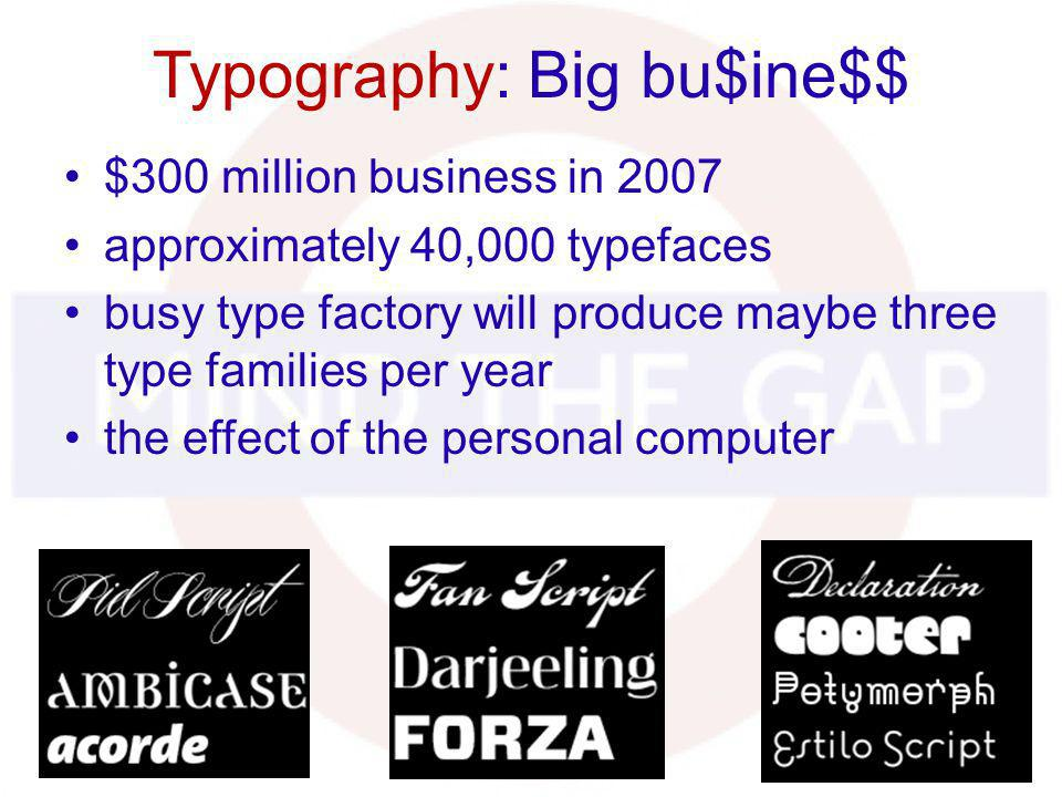 Typography: Big bu$ine$$ $300 million business in 2007 approximately 40,000 typefaces busy type factory will produce maybe three type families per yea