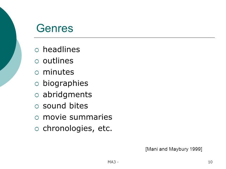 MA3 -10 Genres headlines outlines minutes biographies abridgments sound bites movie summaries chronologies, etc.
