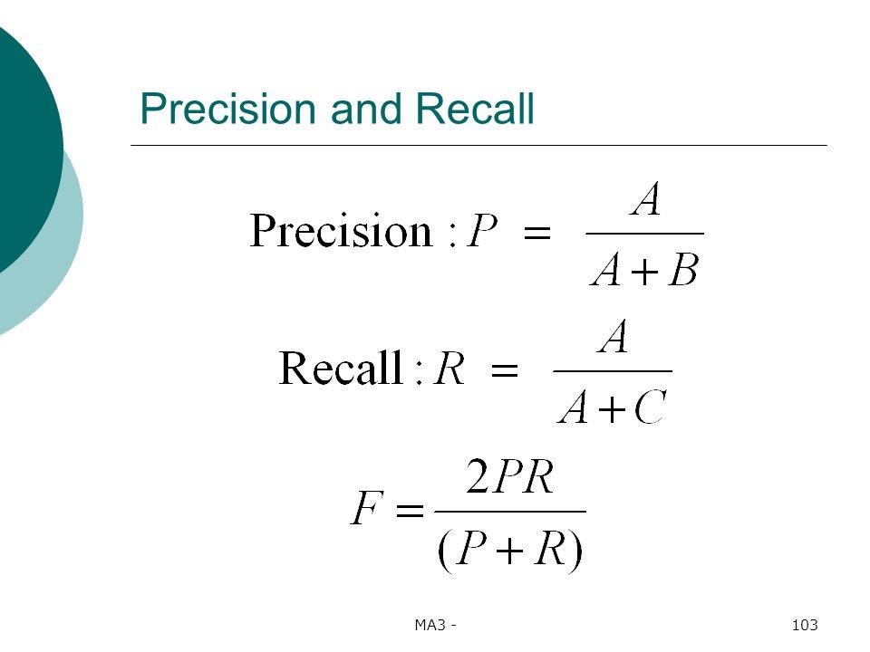 MA3 -103 Precision and Recall