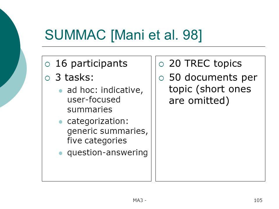 MA3 -105 SUMMAC [Mani et al.