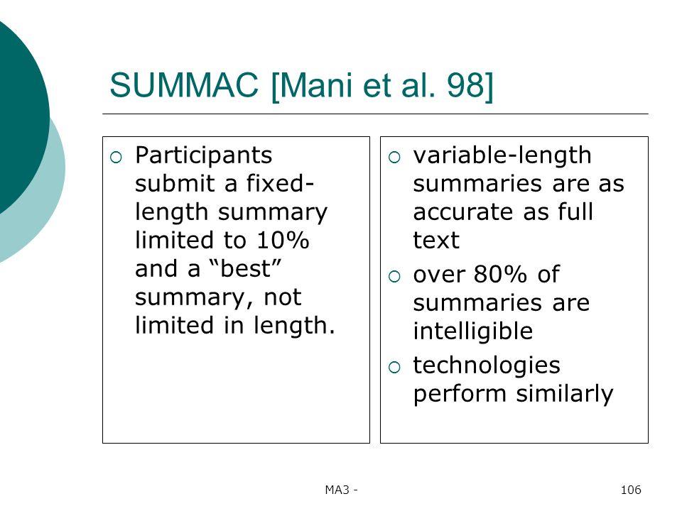 MA3 -106 SUMMAC [Mani et al.