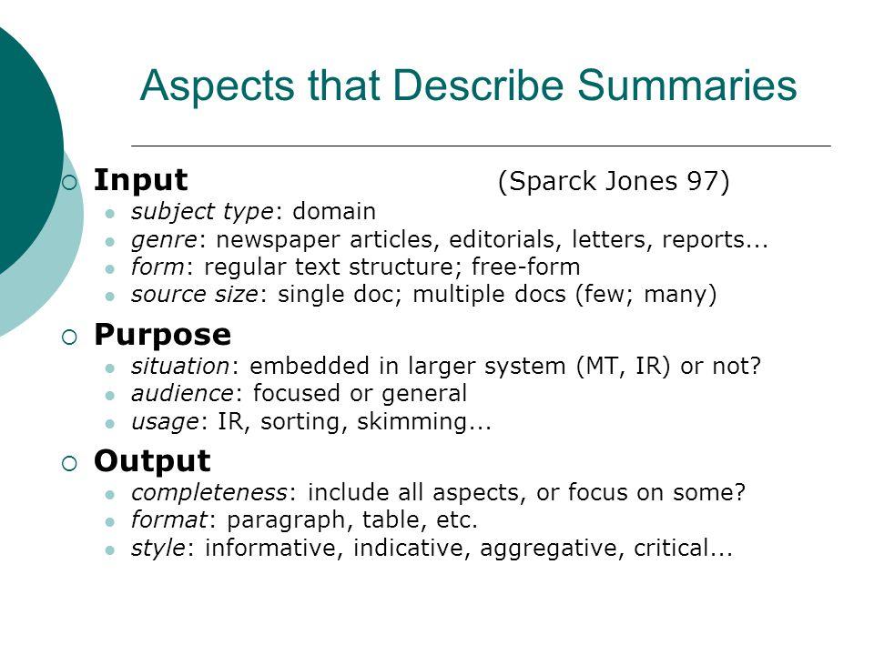 Aspects that Describe Summaries Input (Sparck Jones 97) subject type: domain genre: newspaper articles, editorials, letters, reports...