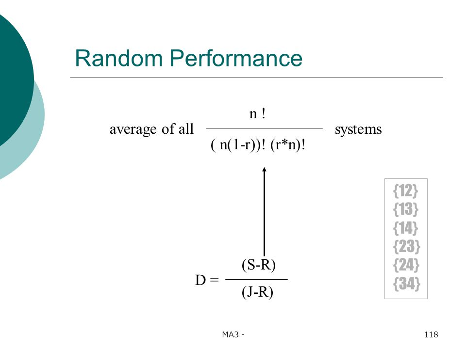 MA3 -118 Random Performance D = (S-R) (J-R) n . ( n(1-r)).