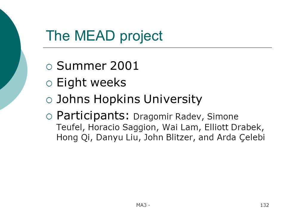 MA3 -132 The MEAD project Summer 2001 Eight weeks Johns Hopkins University Participants: Dragomir Radev, Simone Teufel, Horacio Saggion, Wai Lam, Elliott Drabek, Hong Qi, Danyu Liu, John Blitzer, and Arda Çelebi