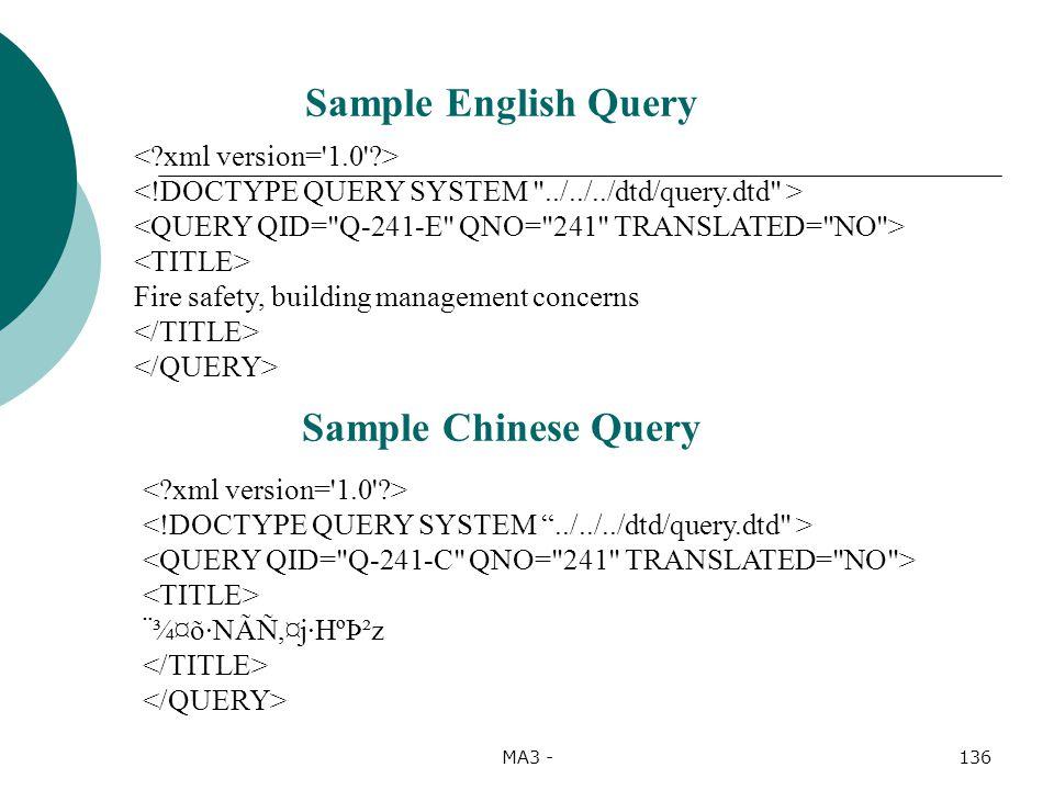 MA3 -136 Fire safety, building management concerns ¨¾¤õ·NÃÑ,¤j·HºÞ²z Sample Chinese Query Sample English Query