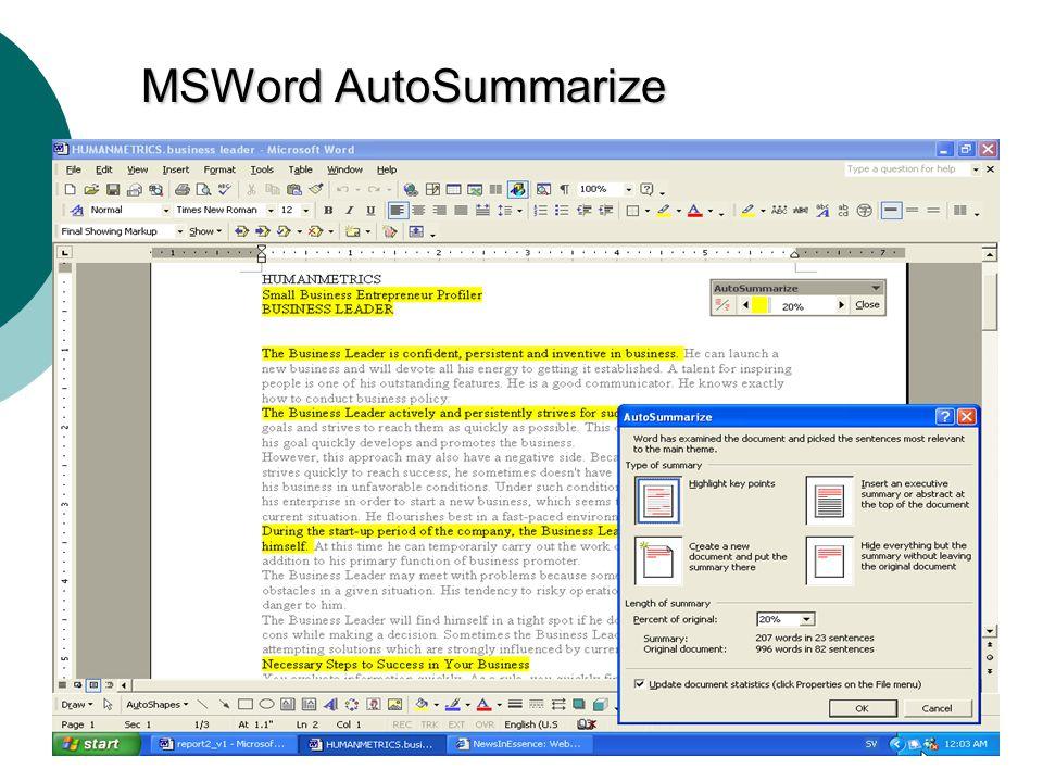 MA3 -14 MSWord AutoSummarize