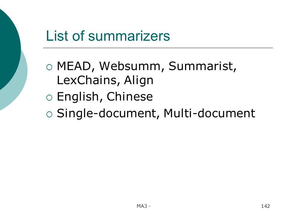 MA3 -142 List of summarizers MEAD, Websumm, Summarist, LexChains, Align English, Chinese Single-document, Multi-document