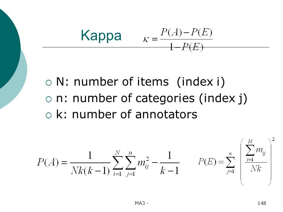 MA3 -148 Kappa N: number of items (index i) n: number of categories (index j) k: number of annotators