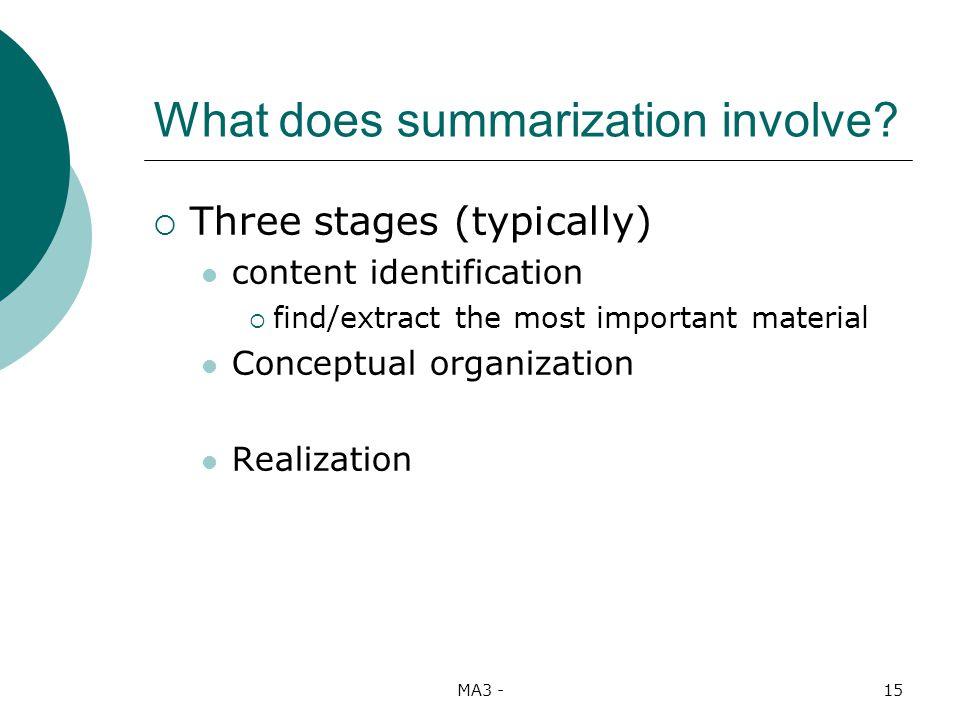 MA3 -15 What does summarization involve.