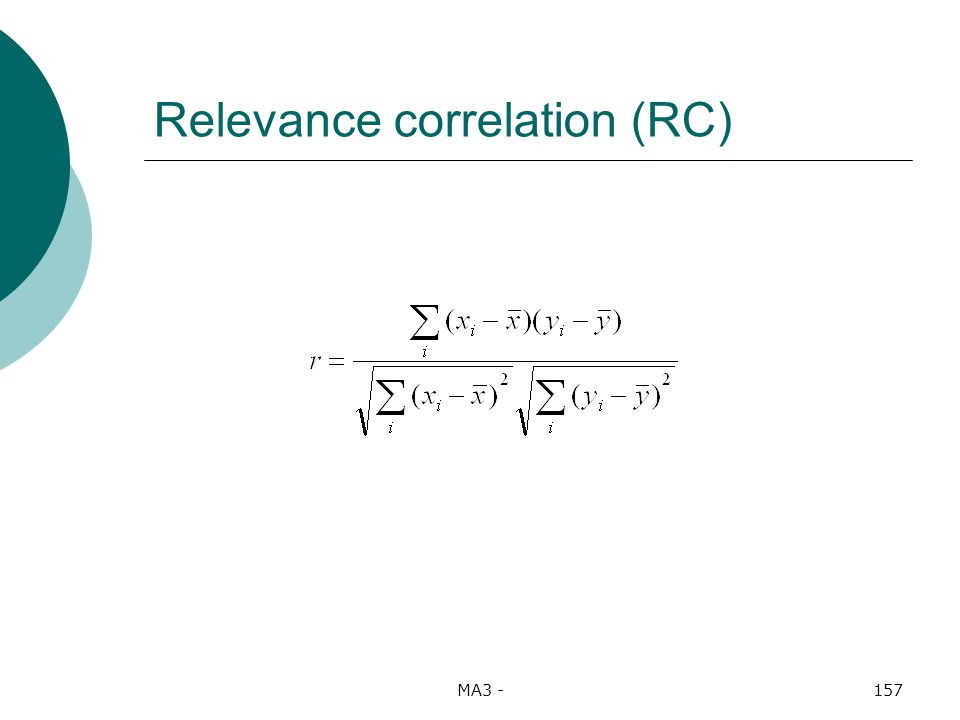 MA3 -157 Relevance correlation (RC)