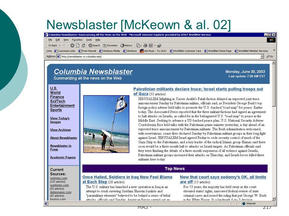 MA3 -217 Newsblaster [McKeown & al. 02]