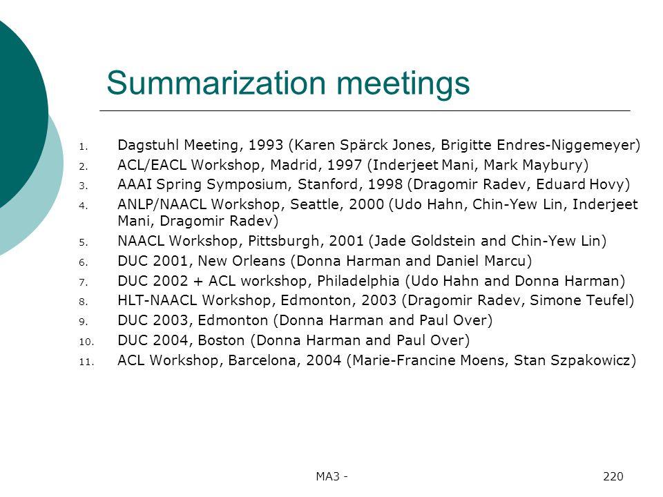 MA3 -220 Summarization meetings 1.