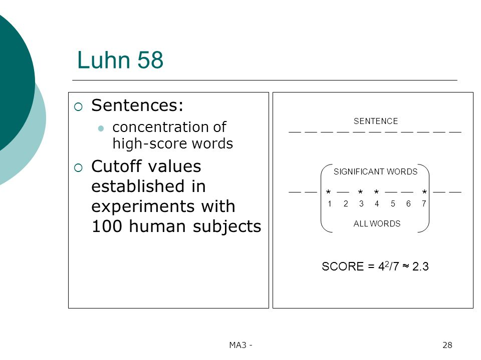 MA3 -28 Luhn 58 Sentences: concentration of high-score words Cutoff values established in experiments with 100 human subjects SIGNIFICANT WORDS ALL WORDS **** 1 2 3 4 5 6 7 SENTENCE SCORE = 4 2 /7 2.3