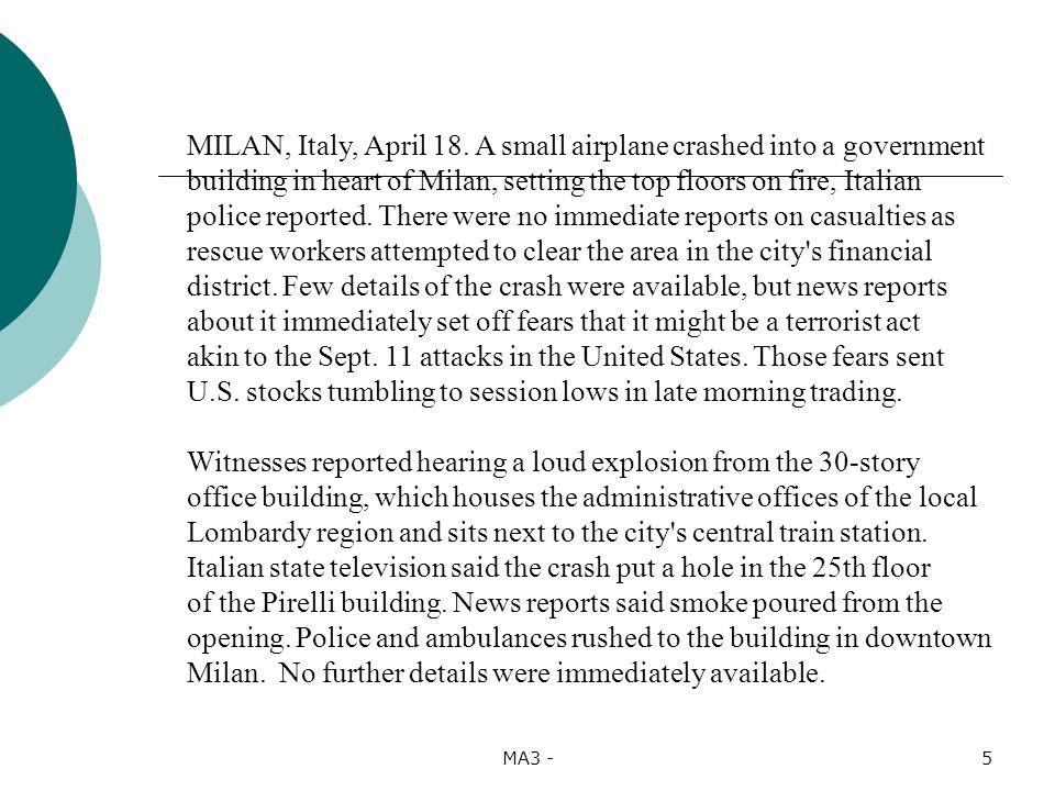 5 MILAN, Italy, April 18.
