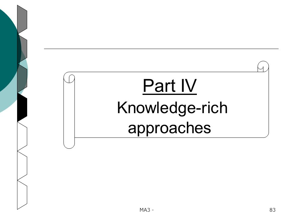 MA3 -83 Part IV Knowledge-rich approaches