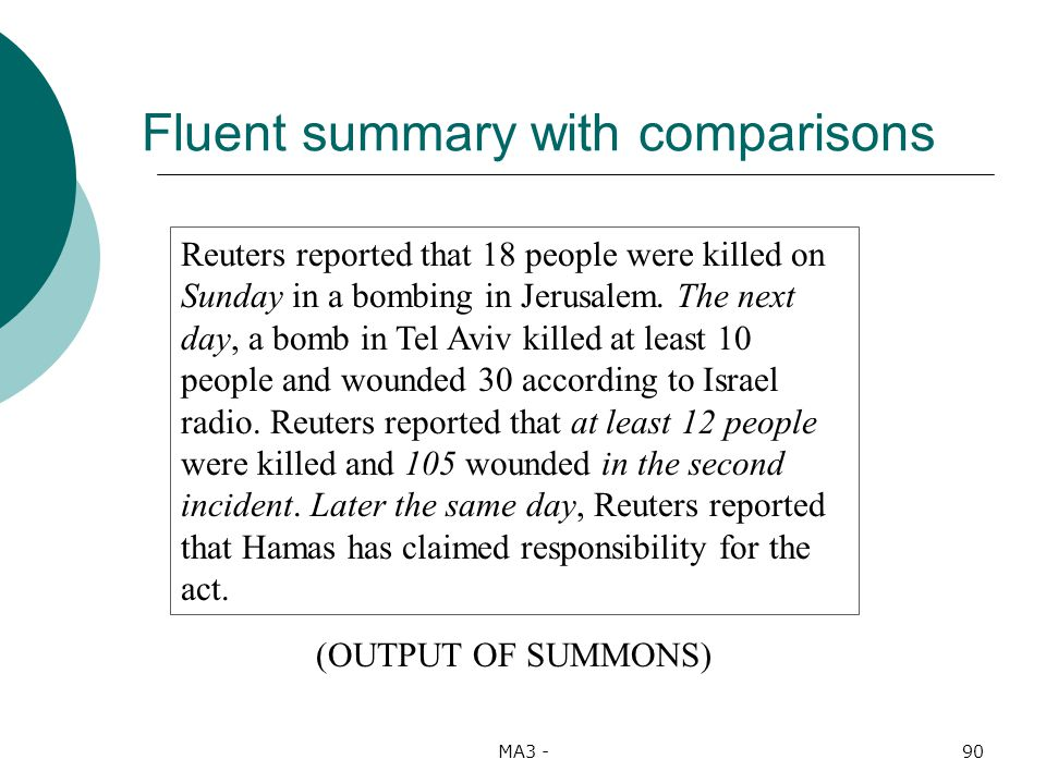 MA3 -90 Fluent summary with comparisons Reuters reported that 18 people were killed on Sunday in a bombing in Jerusalem.