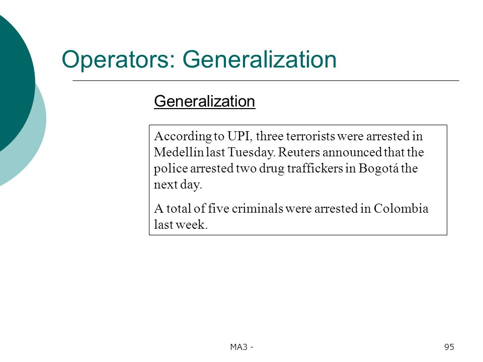 MA3 -95 Operators: Generalization Generalization According to UPI, three terrorists were arrested in Medellín last Tuesday.