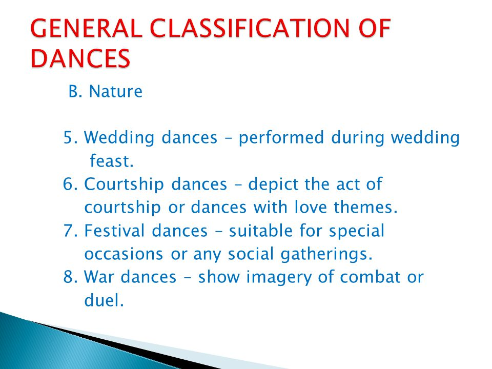 B. Nature 1. Occupational dances- depicts actions of labour or of a specific occupation.