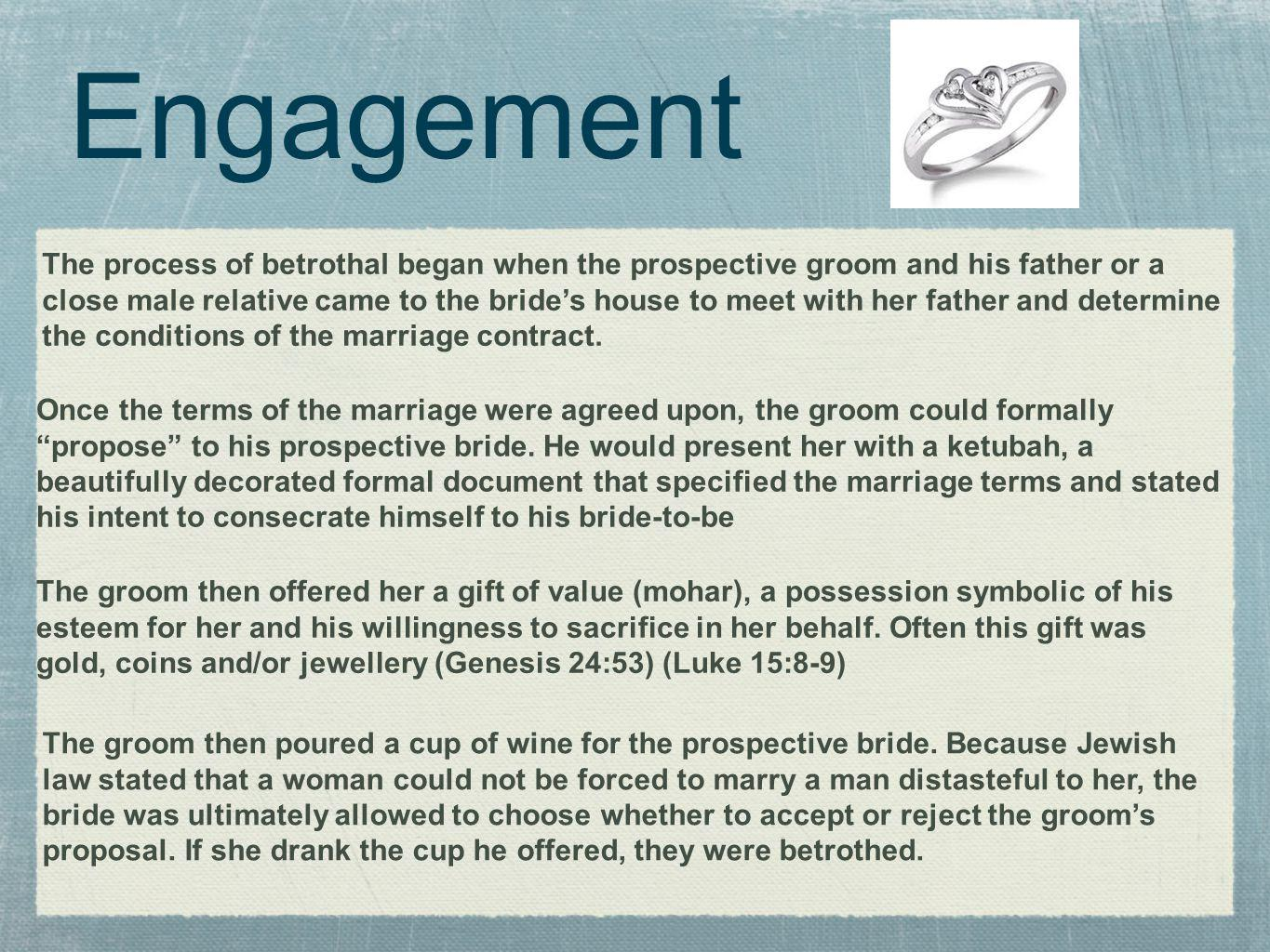 Engagement The groom would formally accept his bride with another ritual statement, often You are set apart (or consecrated) for me according to the law of Moses and Israel.