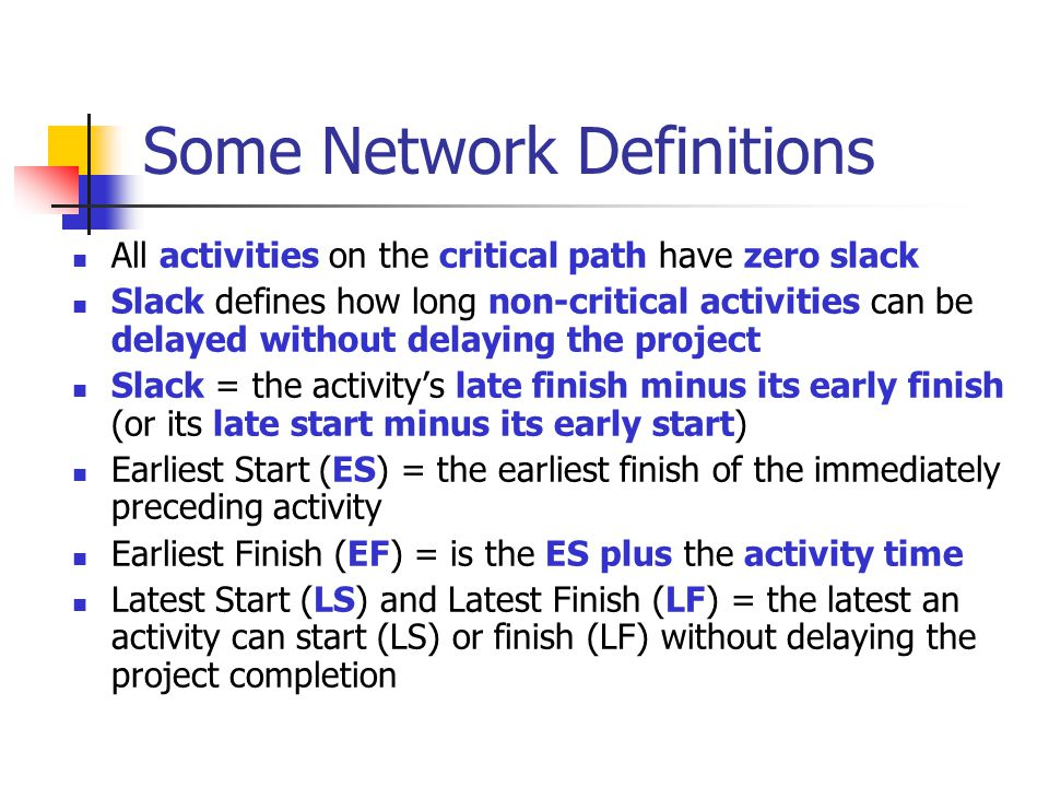 Some Network Definitions All activities on the critical path have zero slack Slack defines how long non-critical activities can be delayed without del