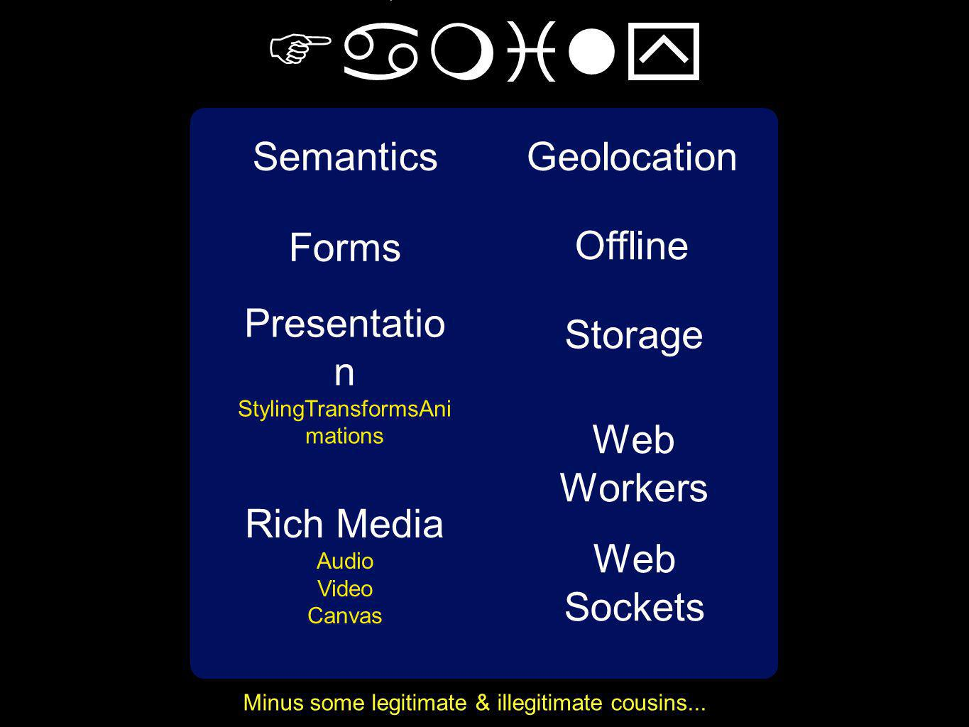 Semantics Forms Geolocation Offline Presentatio n StylingTransformsAni mations Rich Media Audio Video Canvas The HTML5 Family Minus some legitimate & illegitimate cousins...