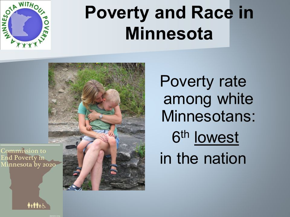 Poverty and Race in Minnesota Poverty rate among white Minnesotans: 6 th lowest in the nation