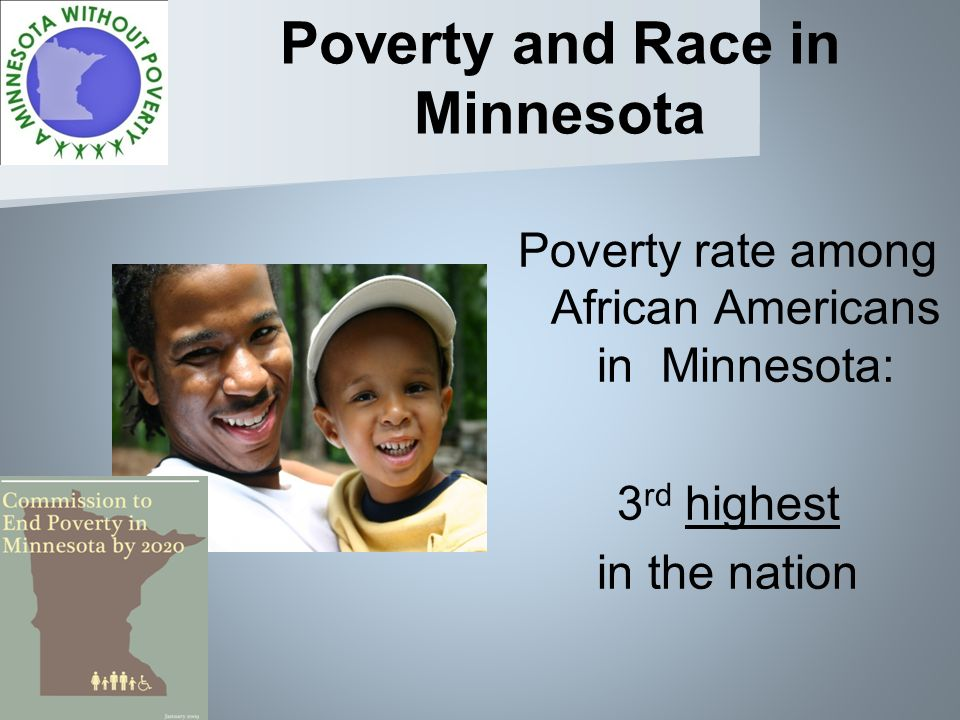 Poverty and Race in Minnesota Poverty rate among African Americans in Minnesota: 3 rd highest in the nation