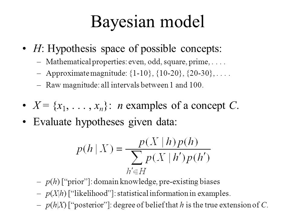H: Hypothesis space of possible concepts: –Mathematical properties: even, odd, square, prime,.... –Approximate magnitude: {1-10}, {10-20}, {20-30},...