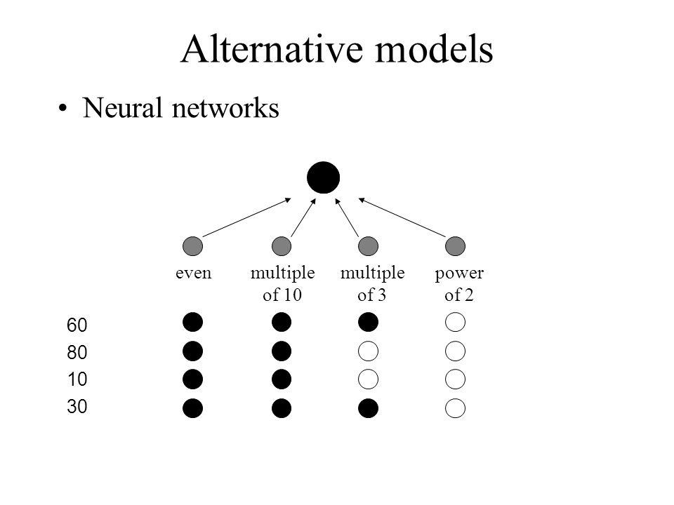 Alternative models Neural networks evenmultiple of 10 power of 2 multiple of 3 80 10 30 60