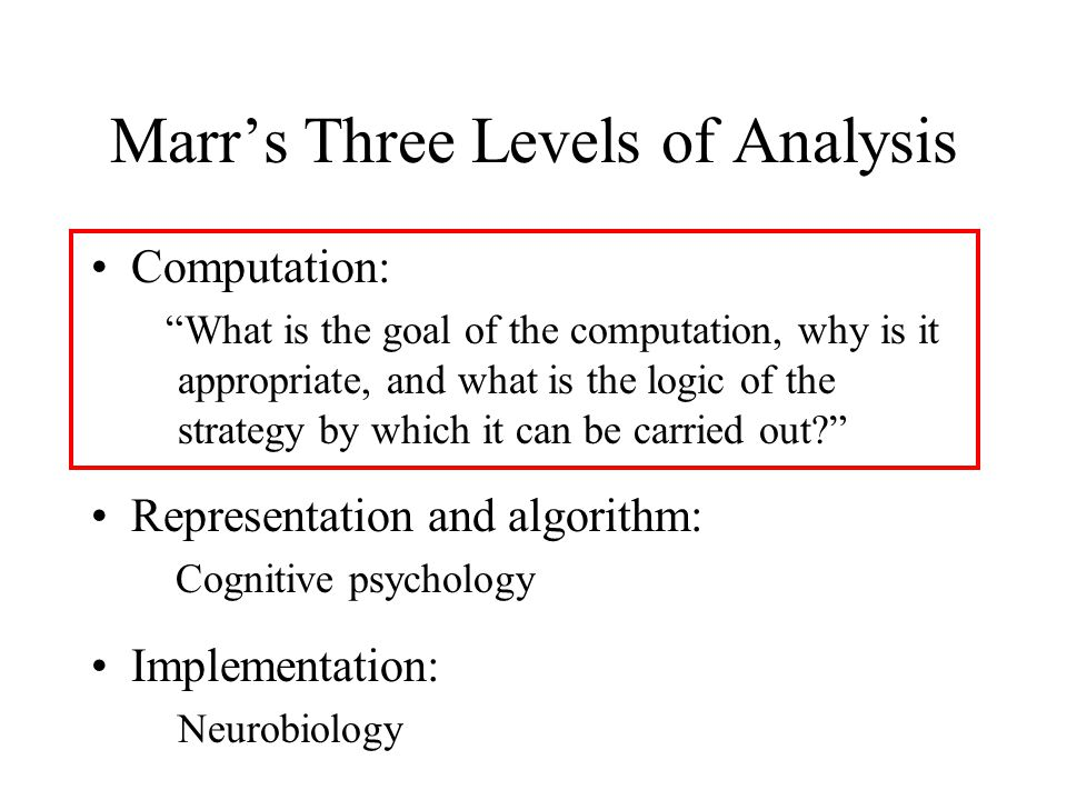 Marrs Three Levels of Analysis Computation: What is the goal of the computation, why is it appropriate, and what is the logic of the strategy by which