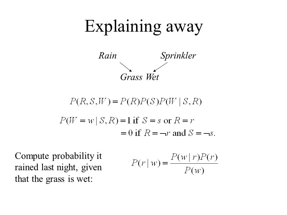 Explaining away RainSprinkler Grass Wet Compute probability it rained last night, given that the grass is wet: