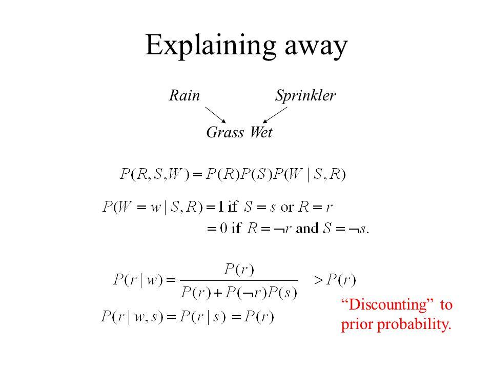 Explaining away RainSprinkler Grass Wet Discounting to prior probability.