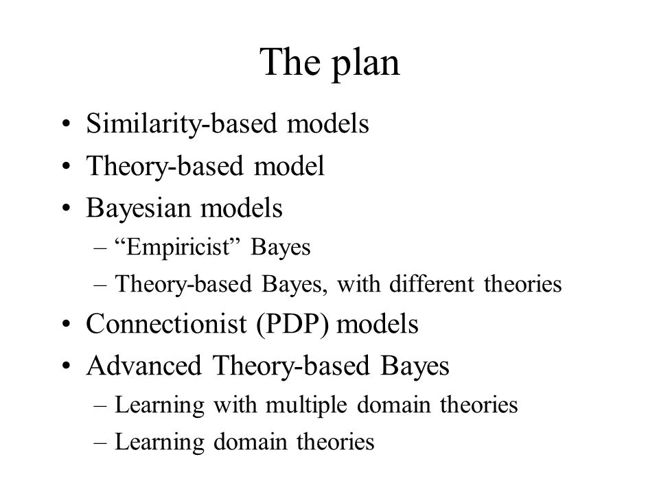 The plan Similarity-based models Theory-based model Bayesian models –Empiricist Bayes –Theory-based Bayes, with different theories Connectionist (PDP)