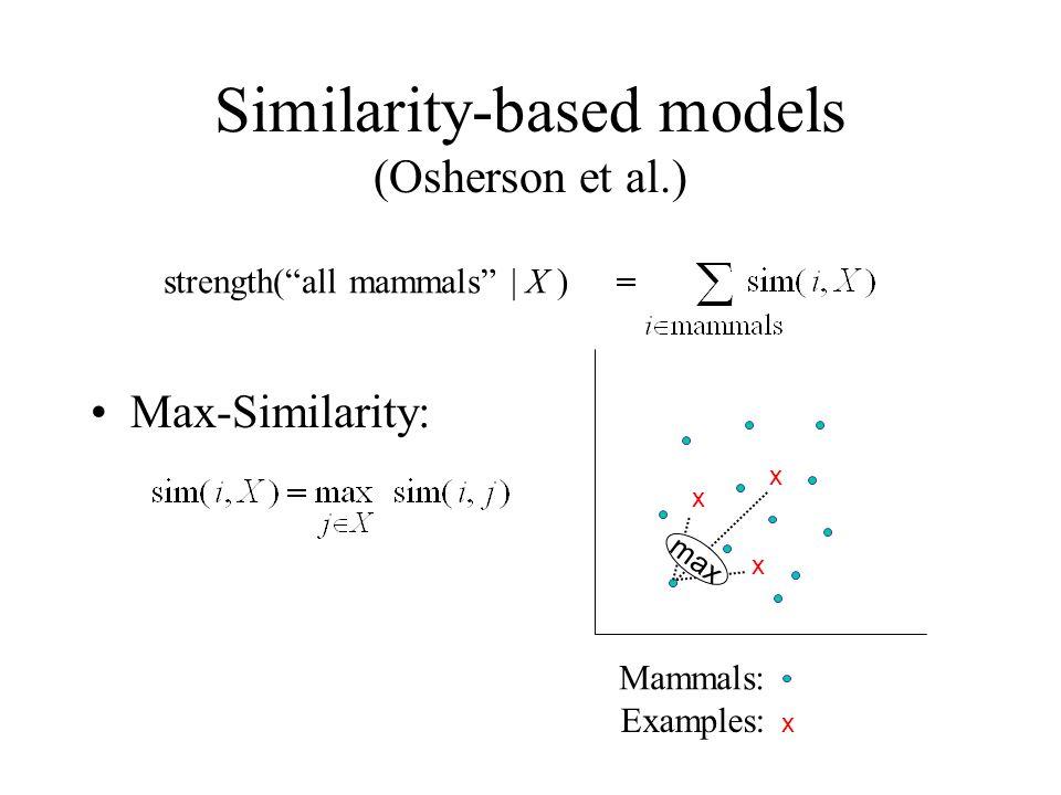 Similarity-based models (Osherson et al.) strength(all mammals | X ) x x x Mammals: Examples: x Max-Similarity: max