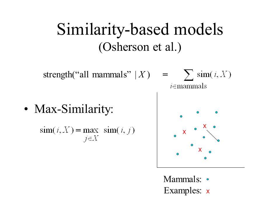 Similarity-based models (Osherson et al.) strength(all mammals | X ) x x x Mammals: Examples: x Max-Similarity: