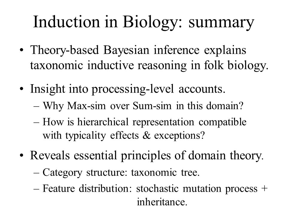 Induction in Biology: summary Theory-based Bayesian inference explains taxonomic inductive reasoning in folk biology. Insight into processing-level ac
