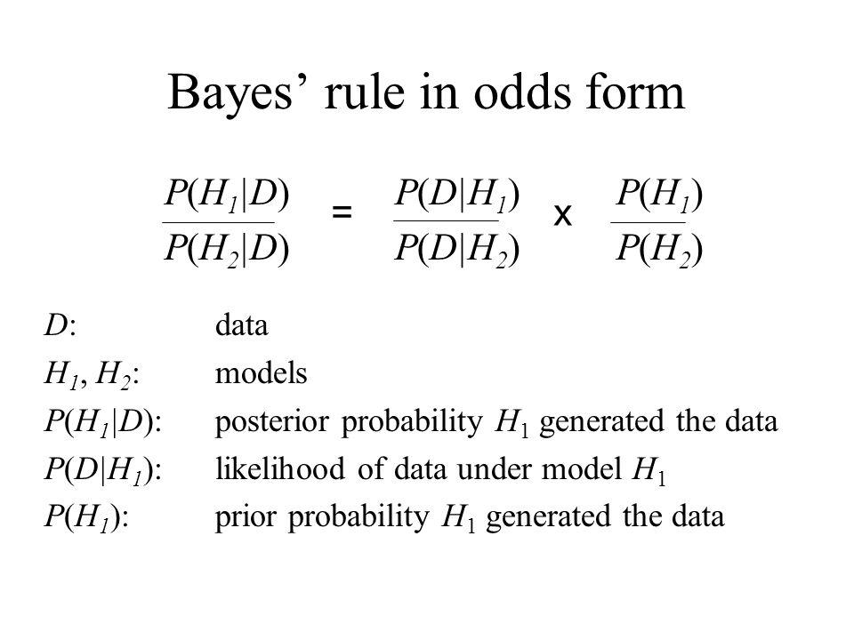 Bayes rule in odds form P(H 1 |D) P(D|H 1 ) P(H 1 ) P(H 2 |D) P(D|H 2 ) P(H 2 ) D: data H 1, H 2 : models P(H 1 |D): posterior probability H 1 generat