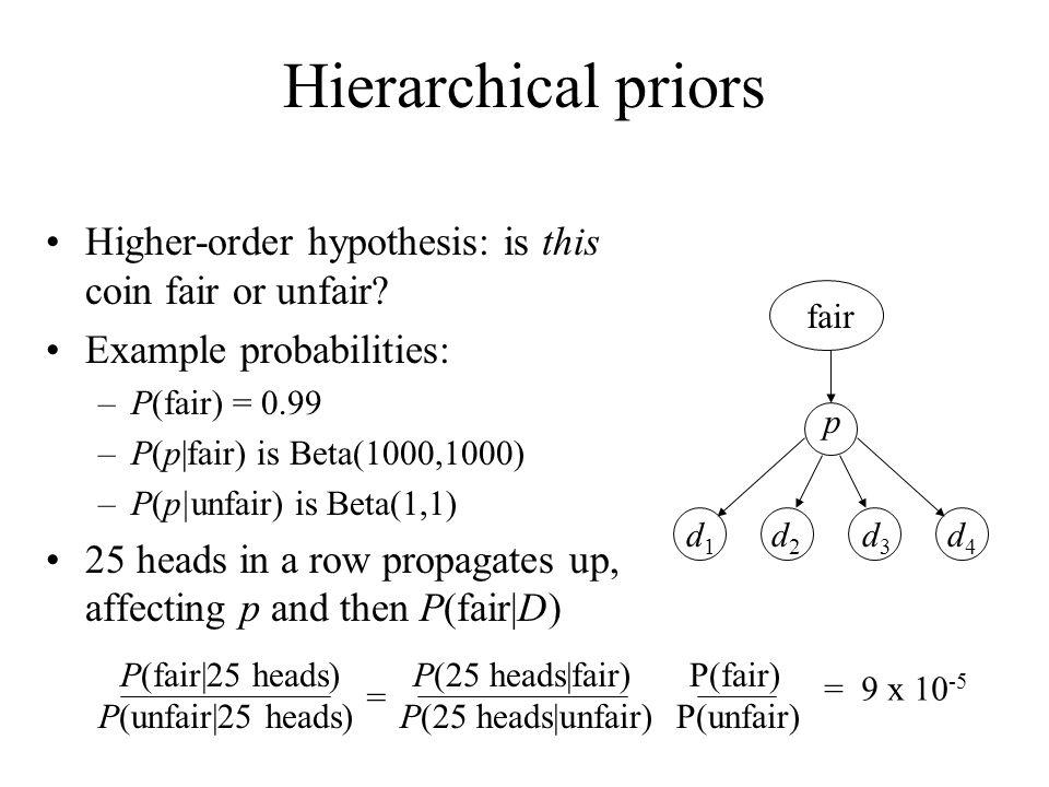 Hierarchical priors Higher-order hypothesis: is this coin fair or unfair? Example probabilities: –P(fair) = 0.99 –P(p|fair) is Beta(1000,1000) –P(p|un
