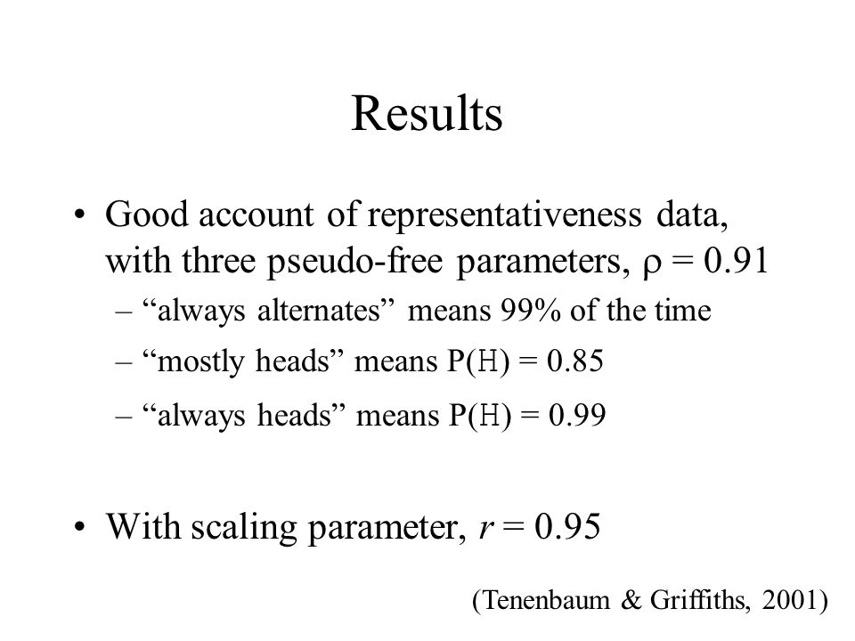 Results Good account of representativeness data, with three pseudo-free parameters, = 0.91 –always alternates means 99% of the time –mostly heads mean