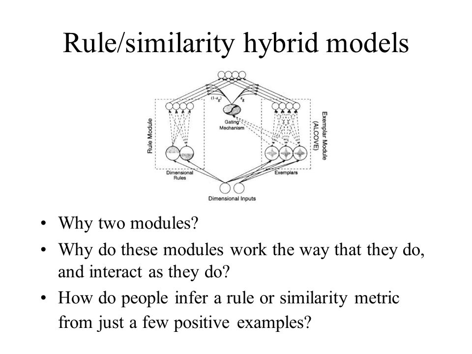 Rule/similarity hybrid models Why two modules? Why do these modules work the way that they do, and interact as they do? How do people infer a rule or