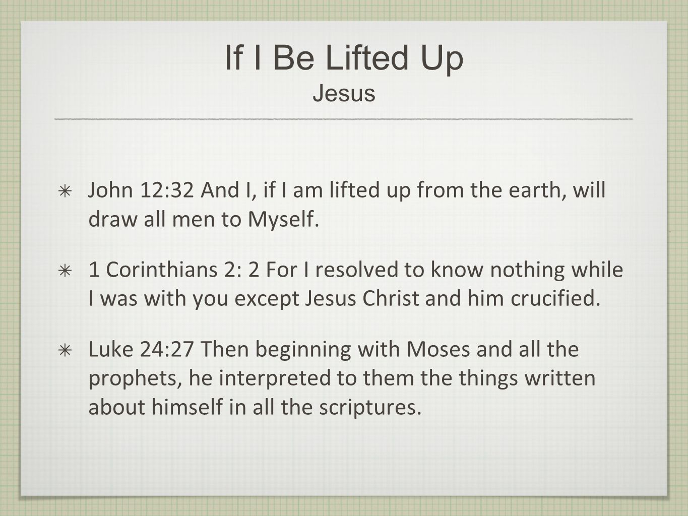 If I Be Lifted Up Jesus John 12:32 And I, if I am lifted up from the earth, will draw all men to Myself.