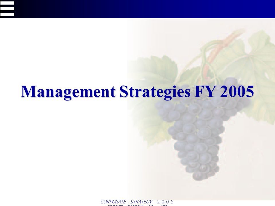 CORPORATE STRATEGY CREDIT SAISON CO., LTD. Management Strategies FY 2005