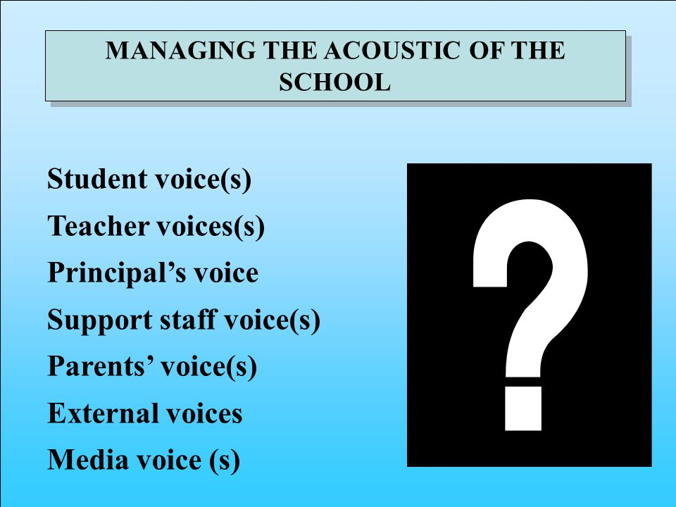 MANAGING THE ACOUSTIC OF THE SCHOOL Student voice(s) Teacher voices(s) Principals voice Support staff voice(s) Parents voice(s) External voices Media voice (s)