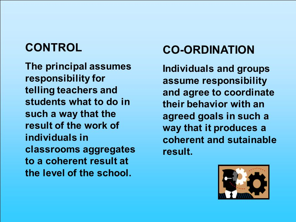 CONTROL The principal assumes responsibility for telling teachers and students what to do in such a way that the result of the work of individuals in classrooms aggregates to a coherent result at the level of the school.