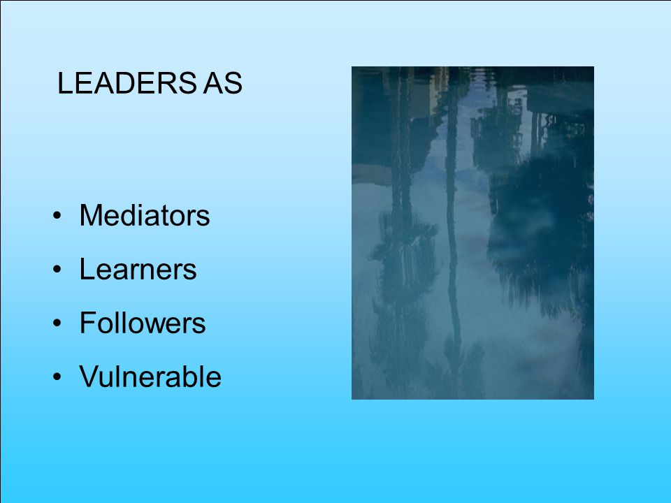 LEADERS AS Mediators Learners Followers Vulnerable