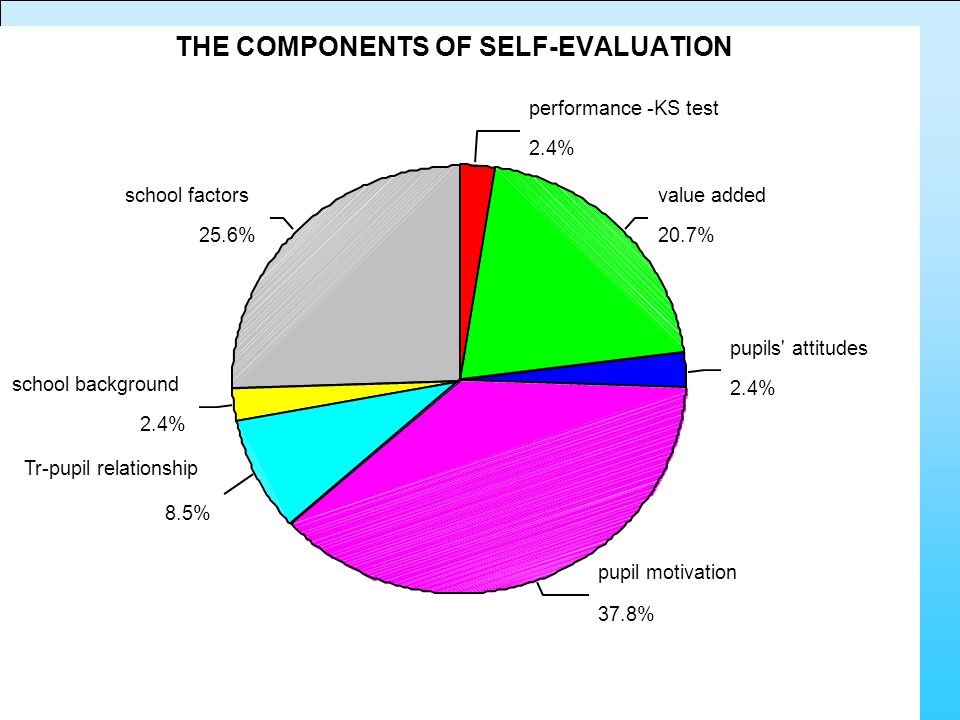 25.6% 2.4% 8.5% 37.8% 2.4% 20.7% 2.4% school factors school background Tr-pupil relationship pupil motivation pupils attitudes value added performance -KS test THE COMPONENTS OF SELF-EVALUATION
