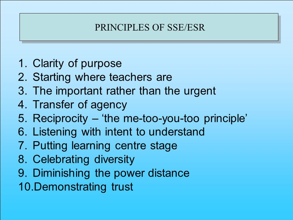 PRINCIPLES OF SSE/ESR 1.Clarity of purpose 2.Starting where teachers are 3.The important rather than the urgent 4.Transfer of agency 5.Reciprocity – the me-too-you-too principle 6.Listening with intent to understand 7.Putting learning centre stage 8.Celebrating diversity 9.Diminishing the power distance 10.Demonstrating trust